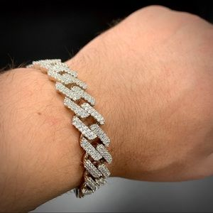 Other - 925 Sterling Silver 12mm Cuban Bracelet Iced